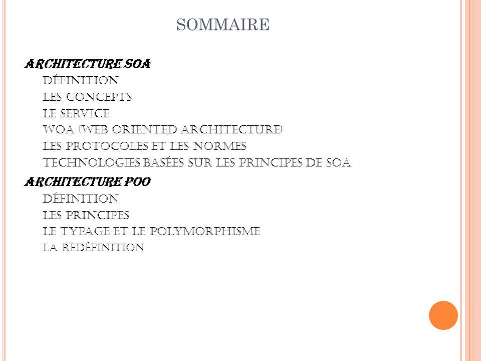 sommaire Architecture SOA Architecture POO Définition Les concepts
