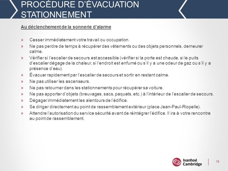 PROCÉDURE D'ÉVACUATION STATIONNEMENT