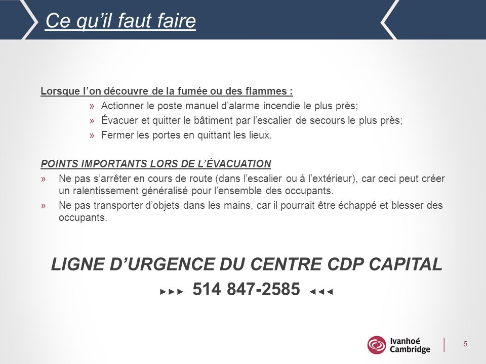 LIGNE D'URGENCE DU CENTRE CDP CAPITAL