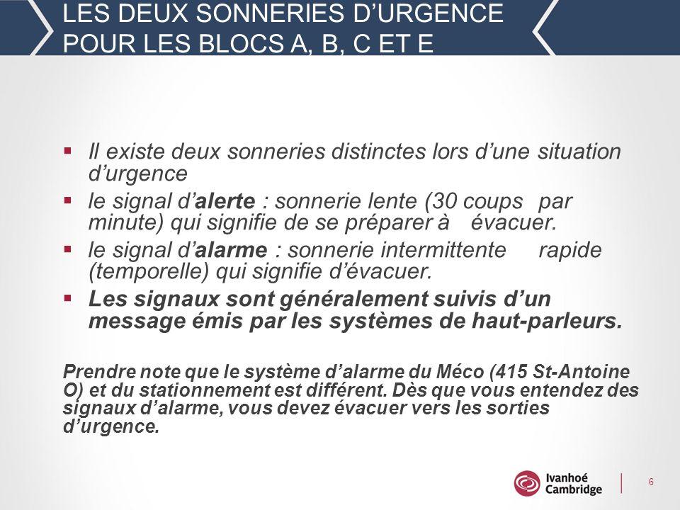 LES DEUX SONNERIES D'URGENCE POUR LES BLOCS A, B, C ET E