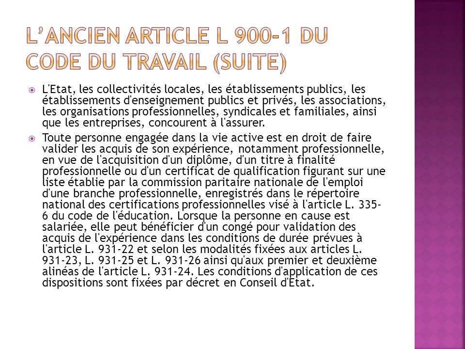 L'ancien article L 900-1 du Code du travail (suite)
