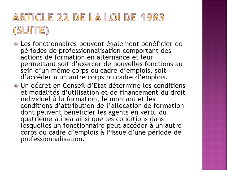 Article 22 de la loi de 1983 (suite)