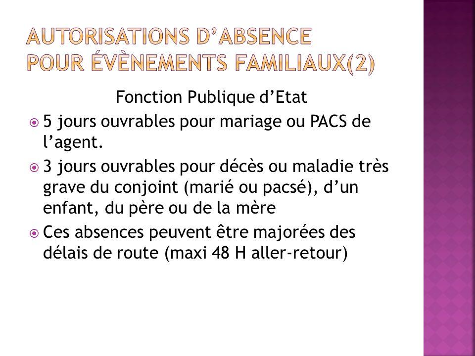 AUTORISATIONS D'ABSENCE pour évènements familiaux(2)