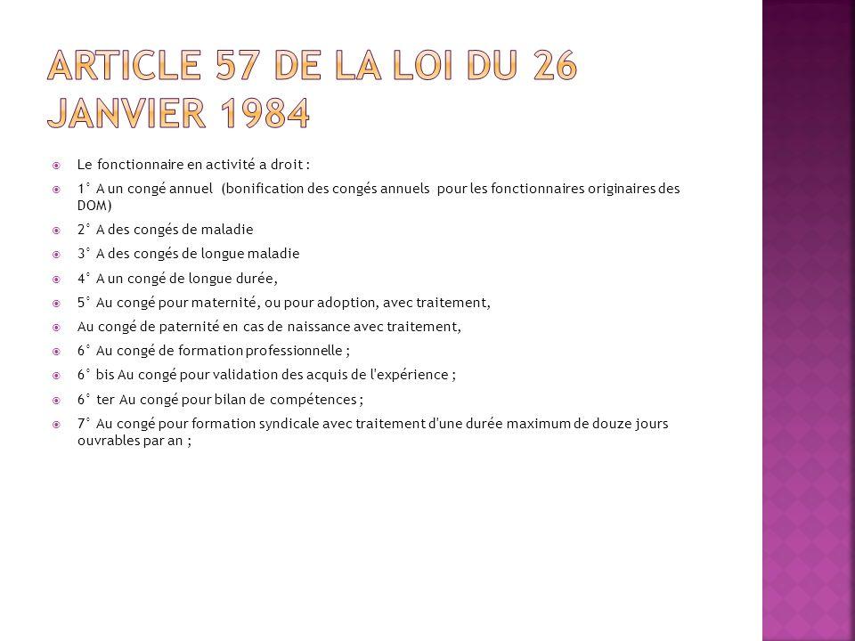 Article 57 de la loi du 26 janvier 1984