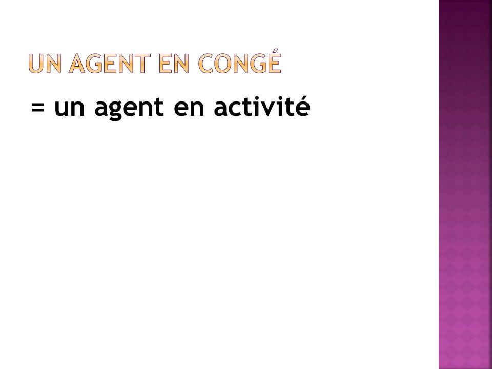 = un agent en activité Un agent en congé Article 56
