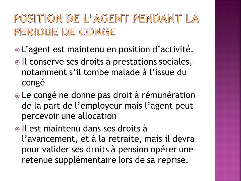 POSITION DE L'AGENT PENDANT LA PERIODE DE CONGE
