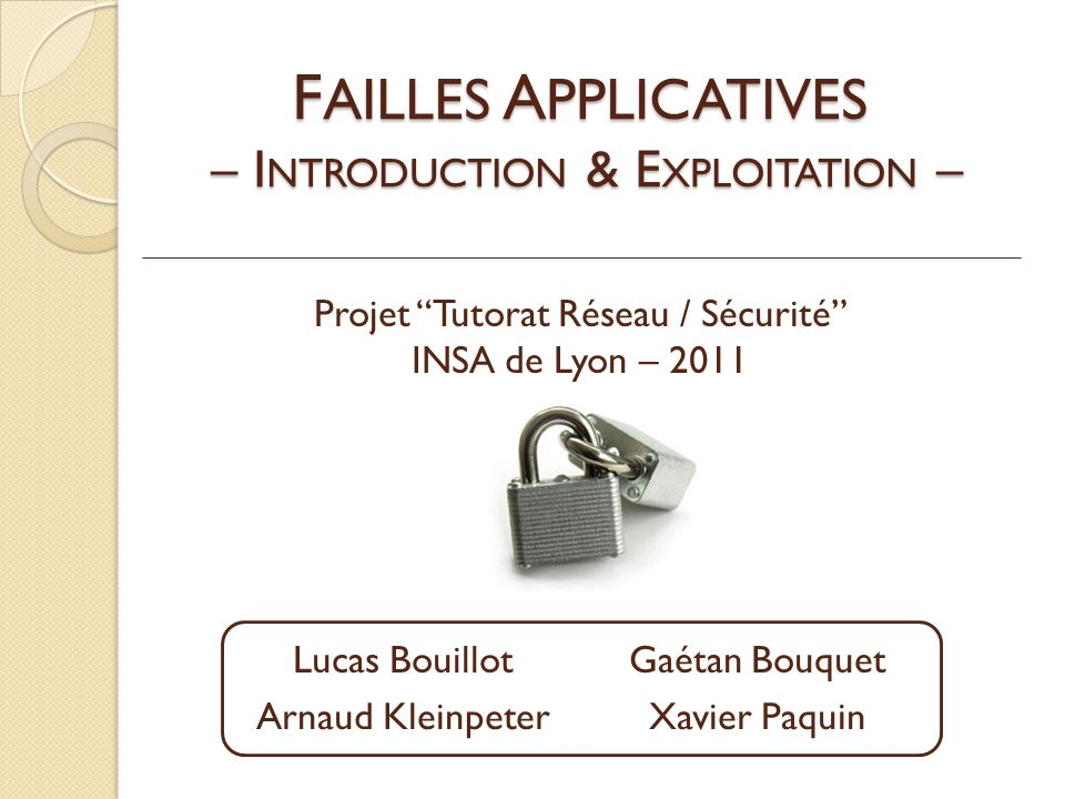 FAILLES APPLICATIVES – INTRODUCTION & EXPLOITATION –