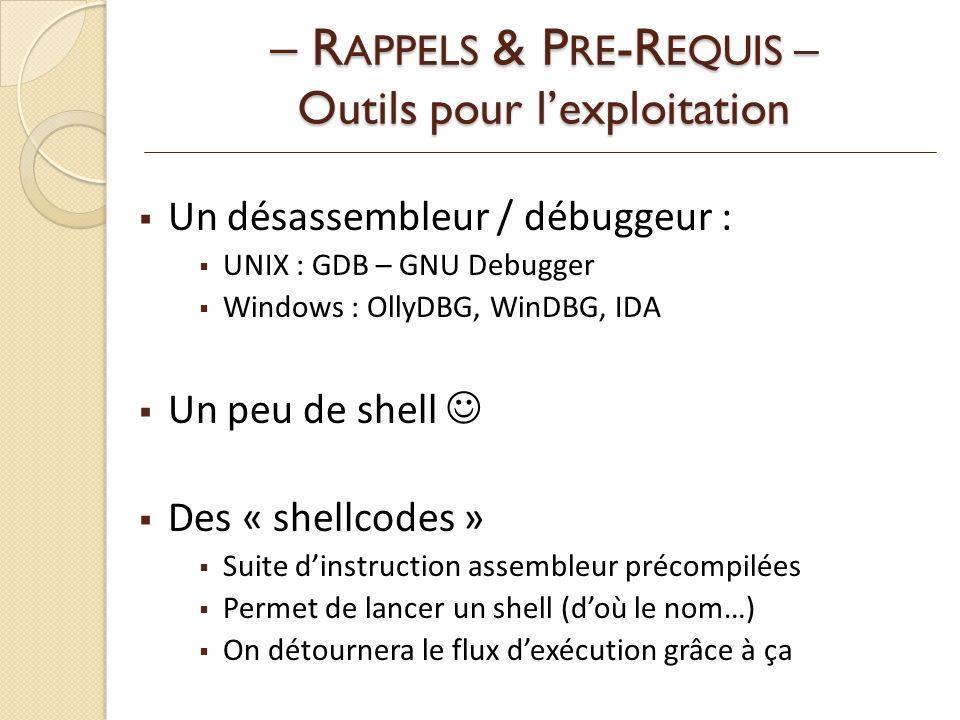 – RAPPELS & PRE-REQUIS – Outils pour l'exploitation