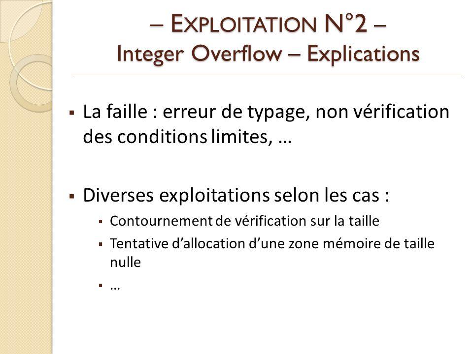 – EXPLOITATION N°2 – Integer Overflow – Explications