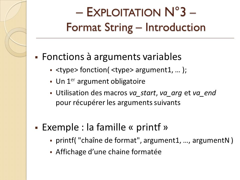 – EXPLOITATION N°3 – Format String – Introduction