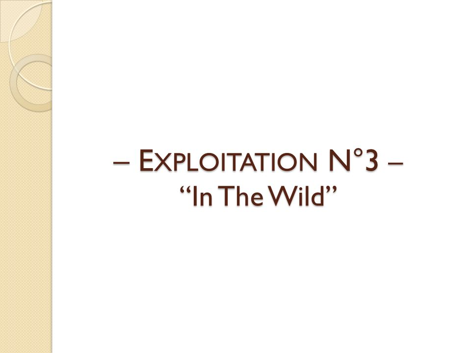 – EXPLOITATION N°3 – In The Wild