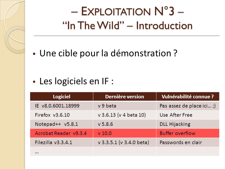 – EXPLOITATION N°3 – In The Wild – Introduction