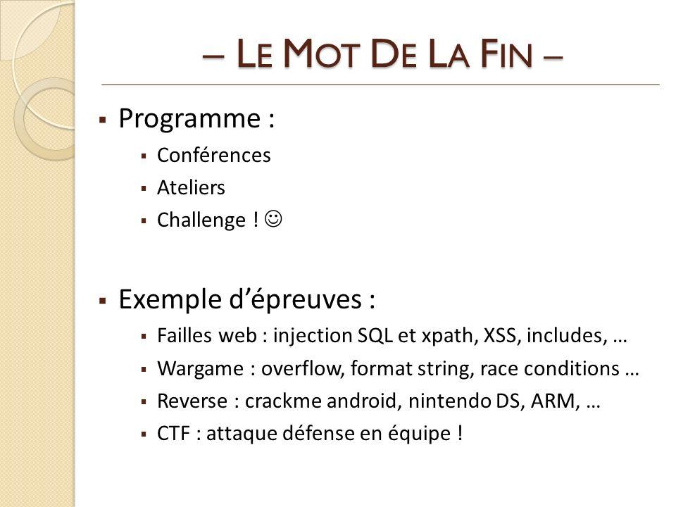– LE MOT DE LA FIN – Programme : Exemple d'épreuves : Conférences