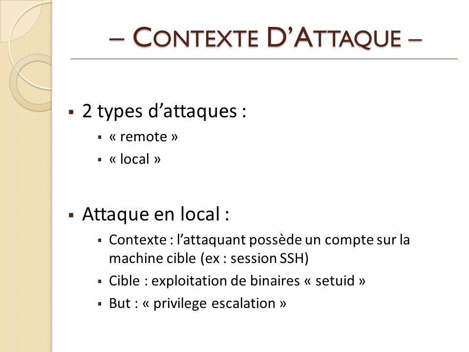 – CONTEXTE D'ATTAQUE – 2 types d'attaques : Attaque en local :