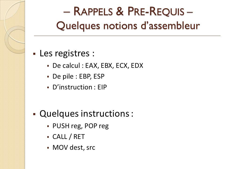 – RAPPELS & PRE-REQUIS – Quelques notions d'assembleur