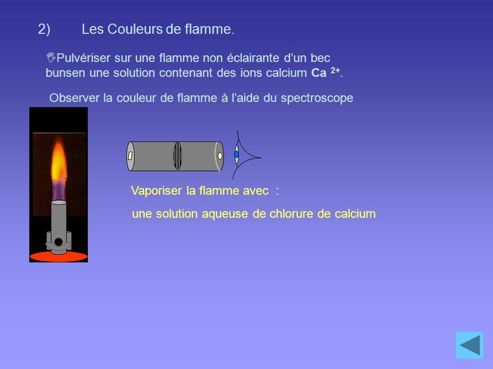 Les Couleurs de flamme. Pulvériser sur une flamme non éclairante d'un bec bunsen une solution contenant des ions calcium Ca 2+.