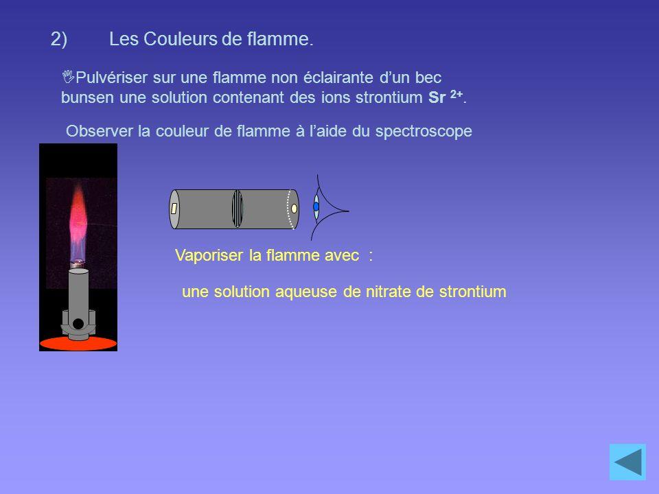 Les Couleurs de flamme. Pulvériser sur une flamme non éclairante d'un bec bunsen une solution contenant des ions strontium Sr 2+.