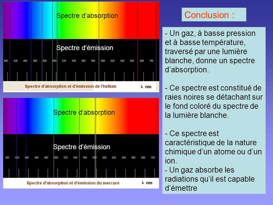 Conclusion : Spectre d'absorption.