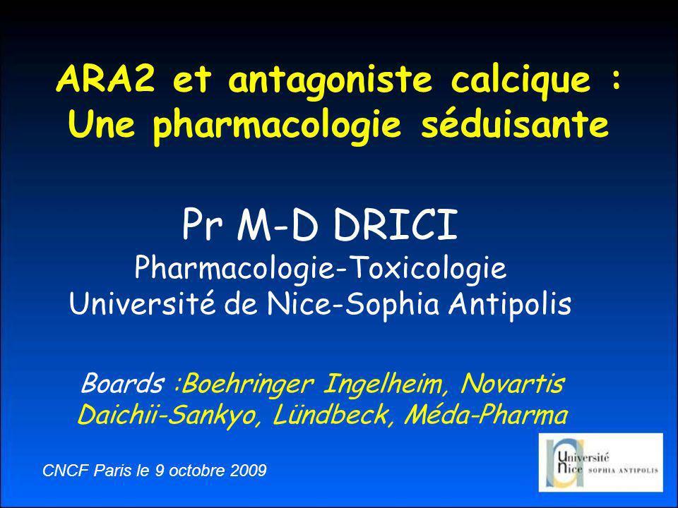 ARA2 et antagoniste calcique : Une pharmacologie séduisante