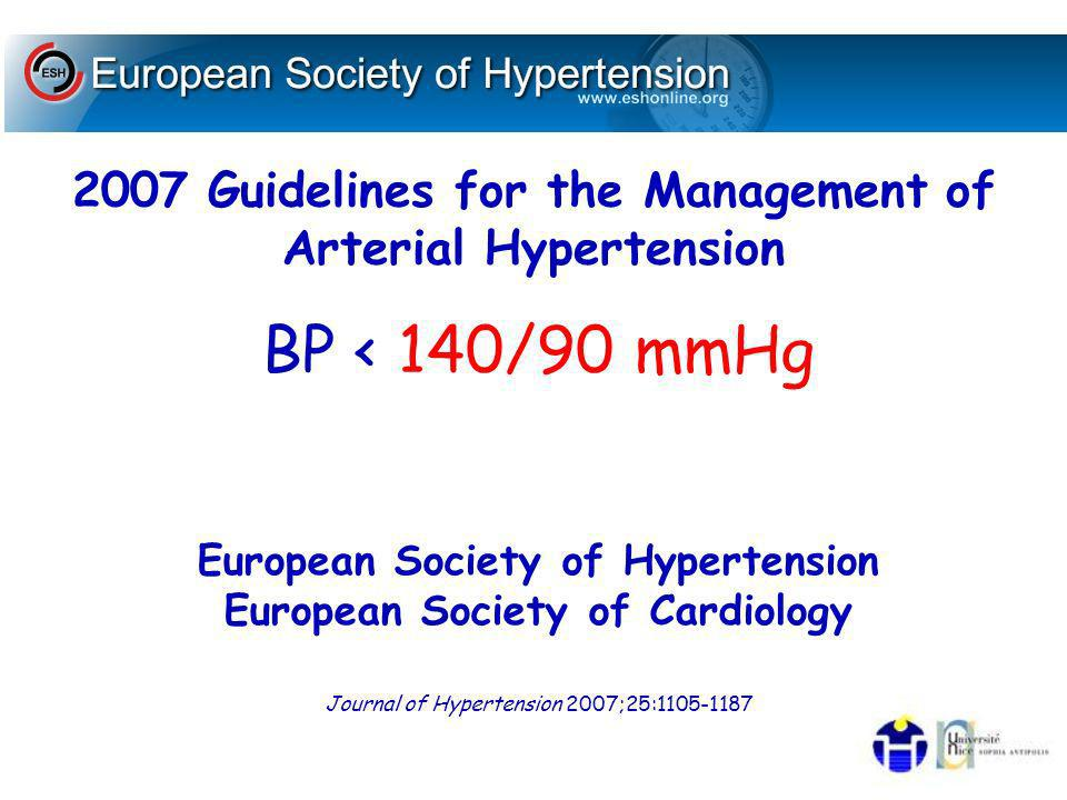 European Society of Hypertension European Society of Cardiology
