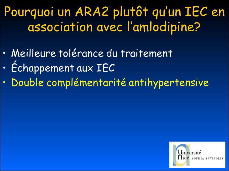Pourquoi un ARA2 plutôt qu'un IEC en association avec l'amlodipine