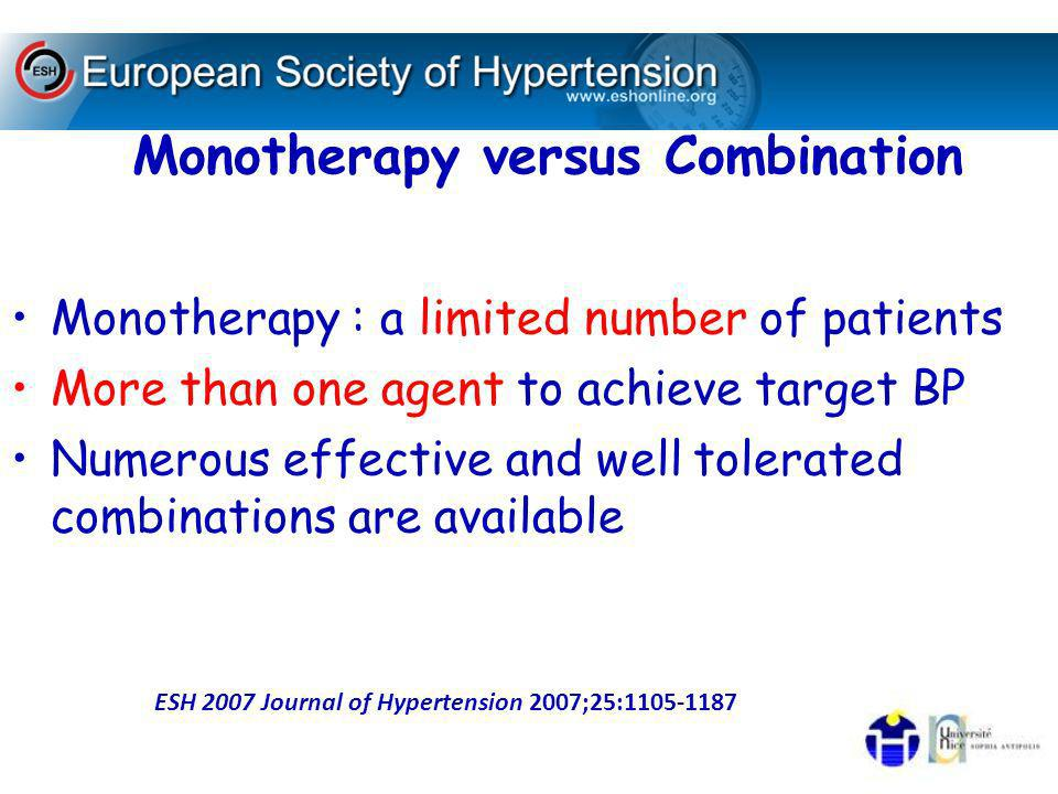 Monotherapy versus Combination