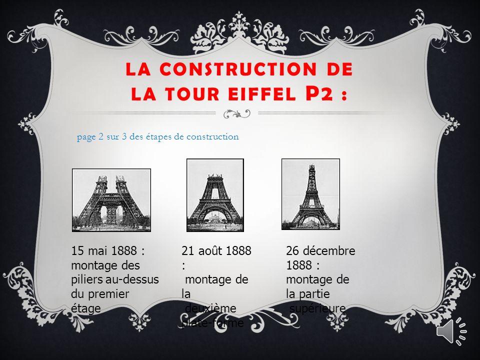 15 mai 1888 : montage des piliers au-dessus du premier étage