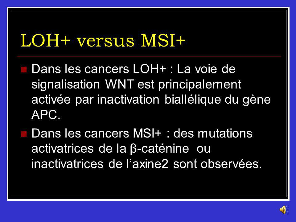LOH+ versus MSI+ Dans les cancers LOH+ : La voie de signalisation WNT est principalement activée par inactivation biallélique du gène APC.