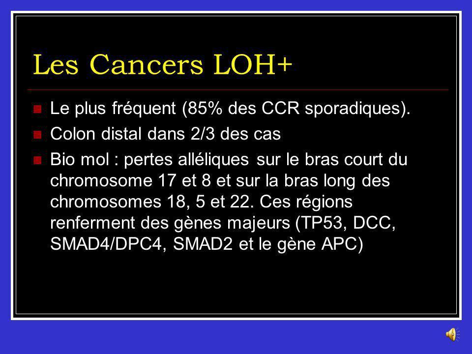 Les Cancers LOH+ Le plus fréquent (85% des CCR sporadiques).