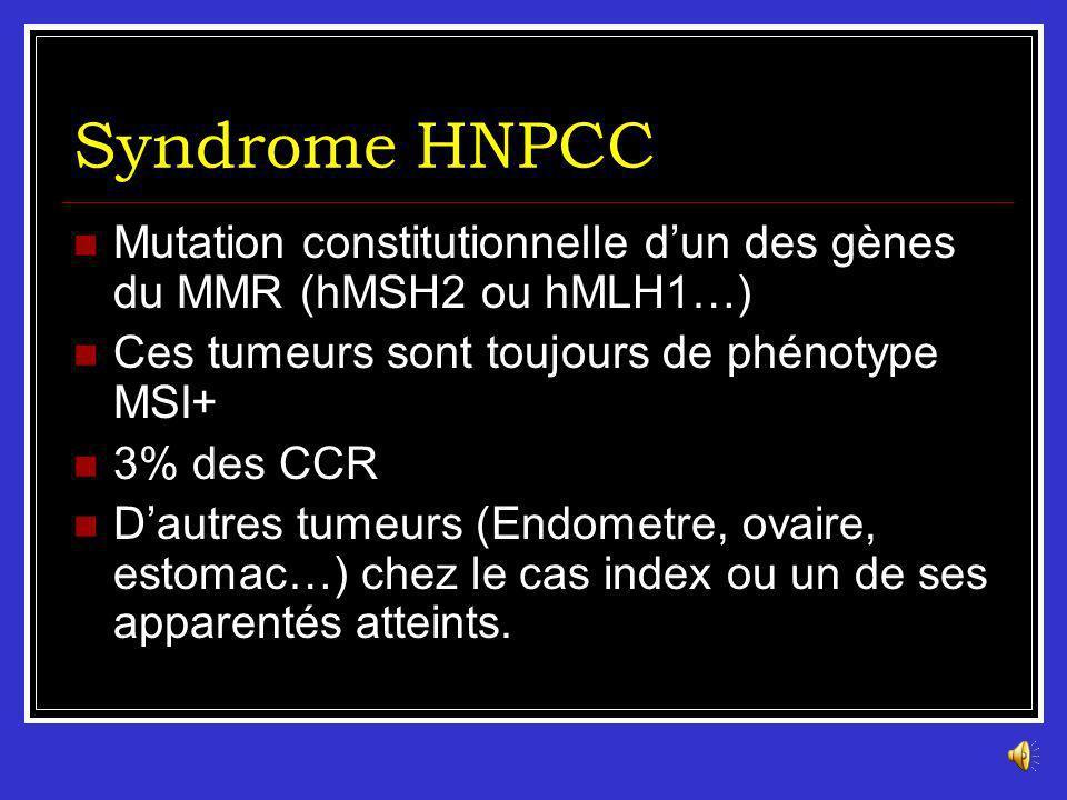 Syndrome HNPCC Mutation constitutionnelle d'un des gènes du MMR (hMSH2 ou hMLH1…) Ces tumeurs sont toujours de phénotype MSI+