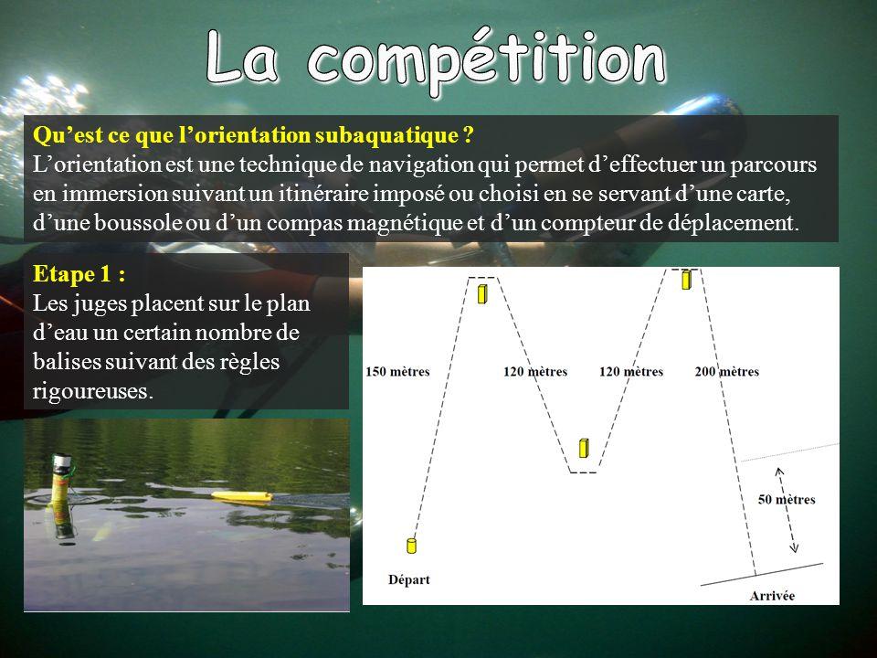 La compétition Qu'est ce que l'orientation subaquatique
