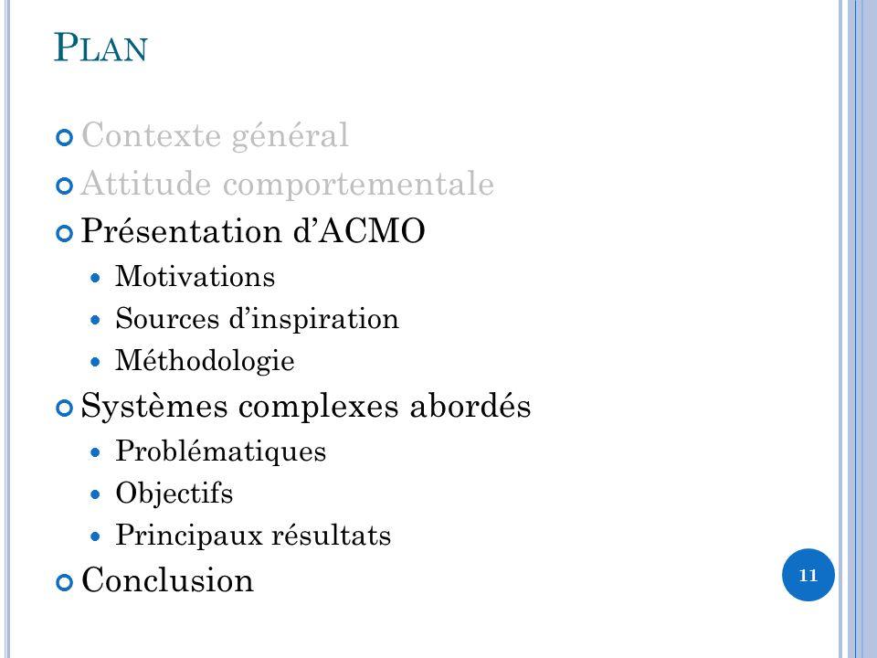 Plan Contexte général Attitude comportementale Présentation d'ACMO