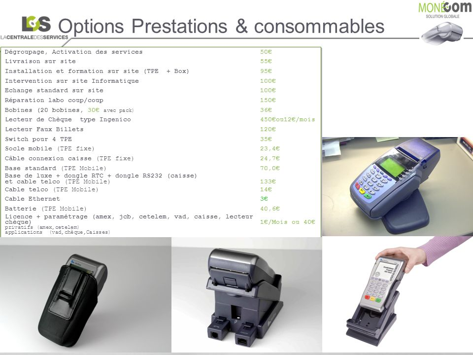 Options Prestations & consommables