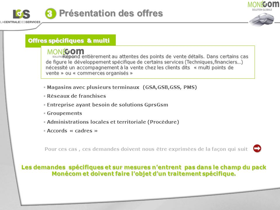 3 . Présentation des offres Offres spécifiques & multi