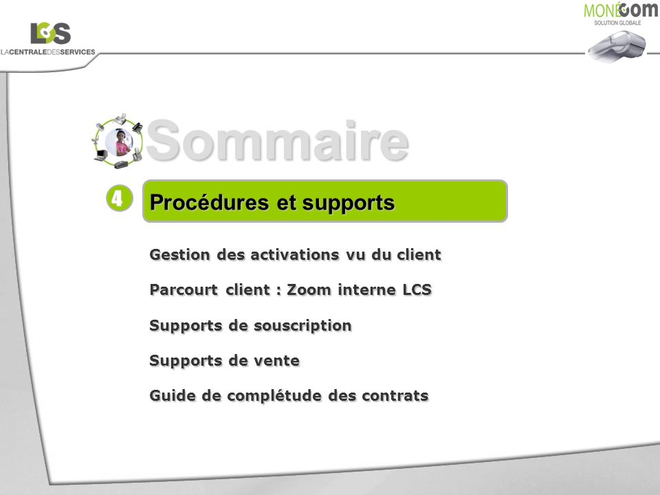 Sommaire 4 Procédures et supports Gestion des activations vu du client
