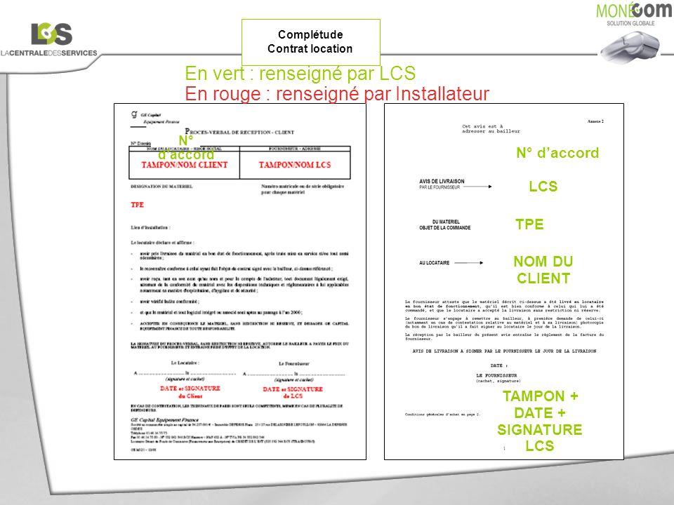 Complétude Contrat location