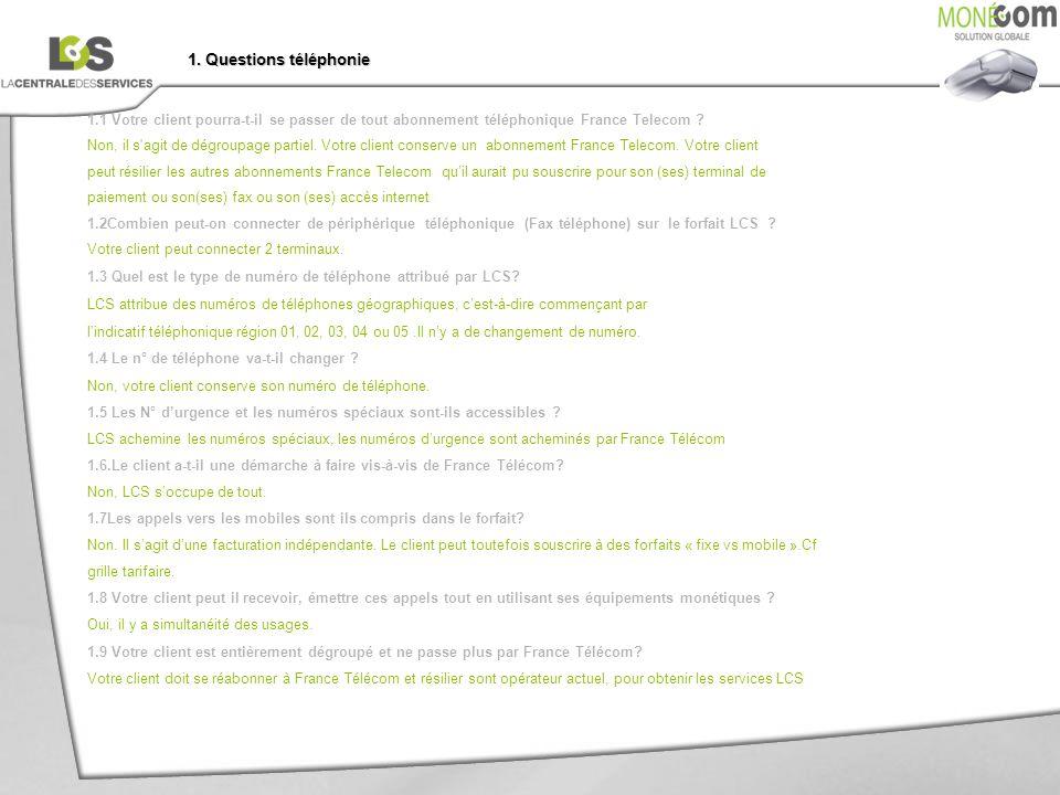 1. Questions téléphonie 1.1 Votre client pourra-t-il se passer de tout abonnement téléphonique France Telecom