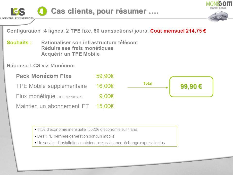 4 Cas clients, pour résumer …. Votre client : 99,90 €