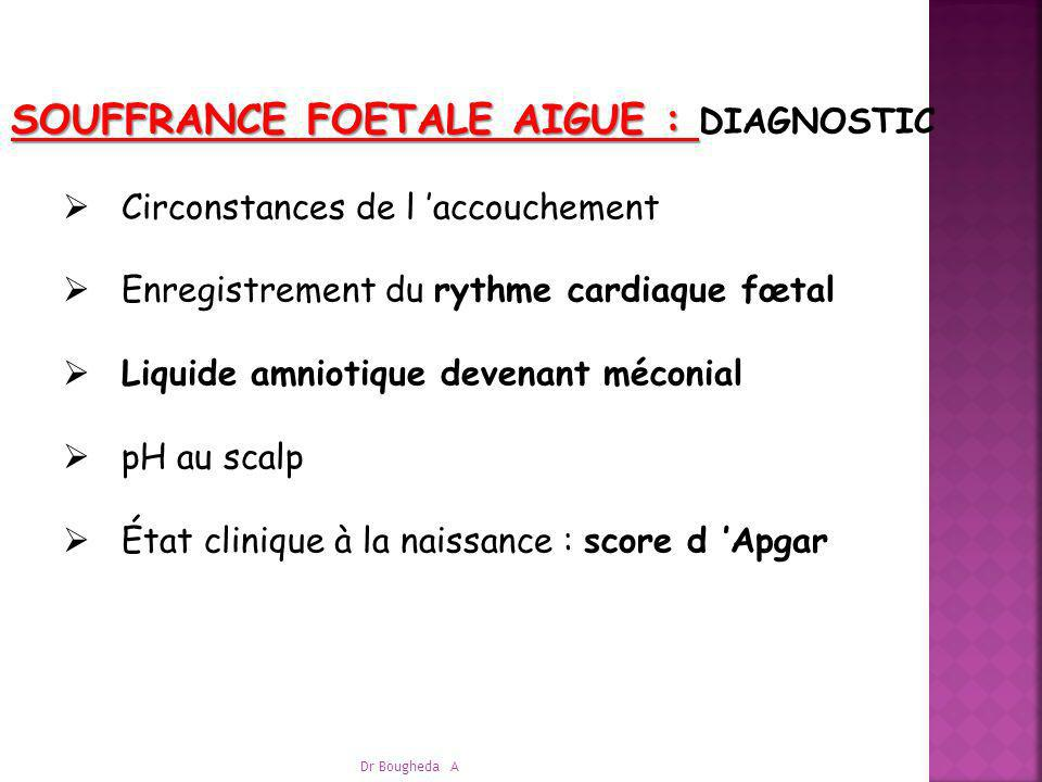 SOUFFRANCE FOETALE AIGUE : DIAGNOSTIC