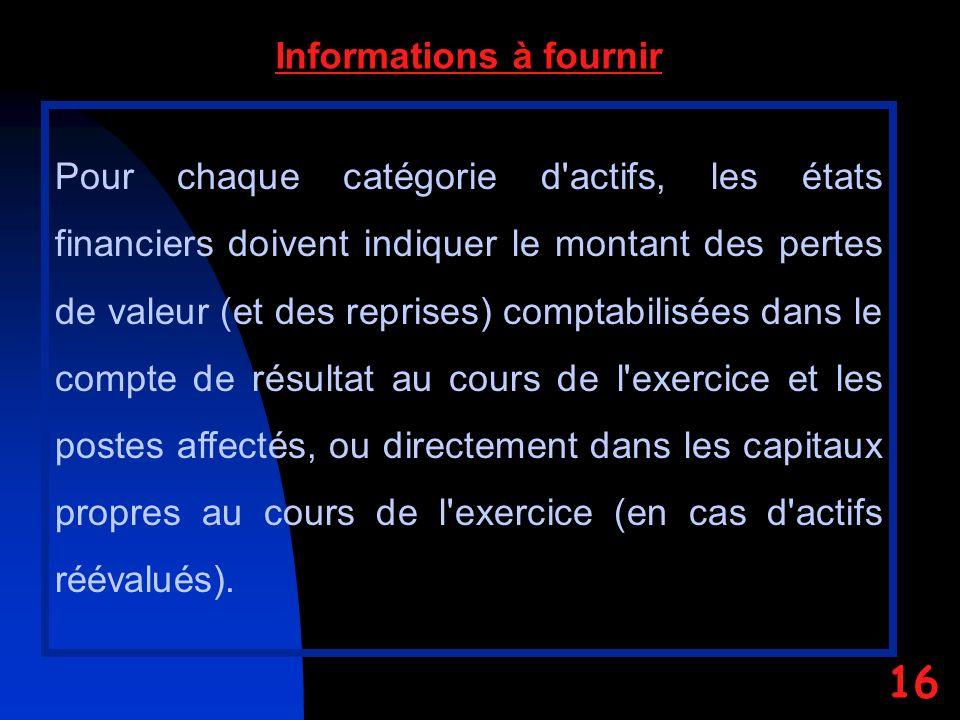 Informations à fournir