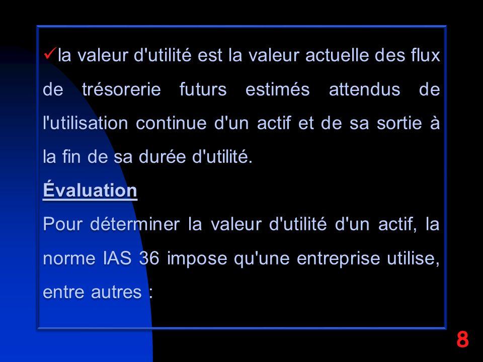 la valeur d utilité est la valeur actuelle des flux de trésorerie futurs estimés attendus de l utilisation continue d un actif et de sa sortie à la fin de sa durée d utilité.