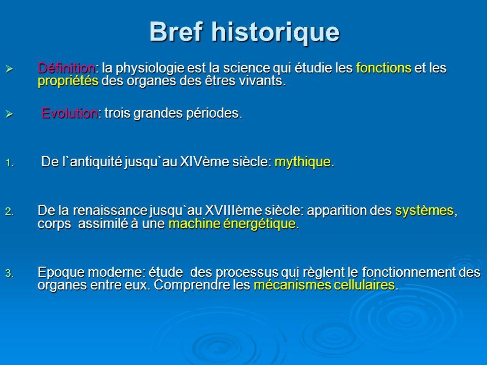 Bref historique Définition: la physiologie est la science qui étudie les fonctions et les propriétés des organes des êtres vivants.