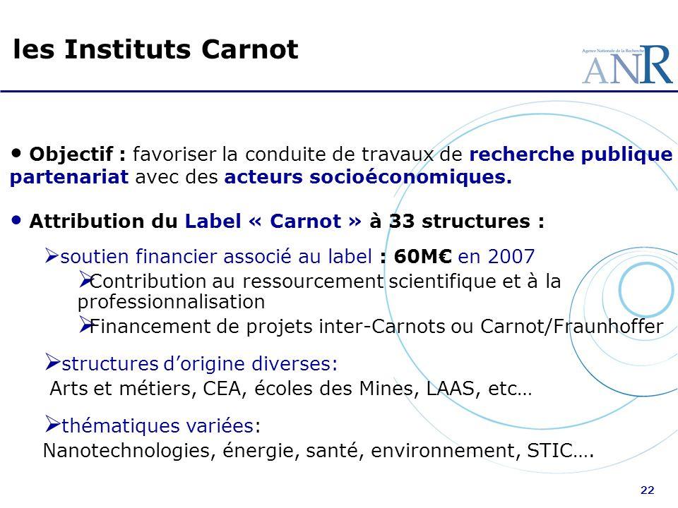 les Instituts Carnot Objectif : favoriser la conduite de travaux de recherche publique en partenariat avec des acteurs socioéconomiques.