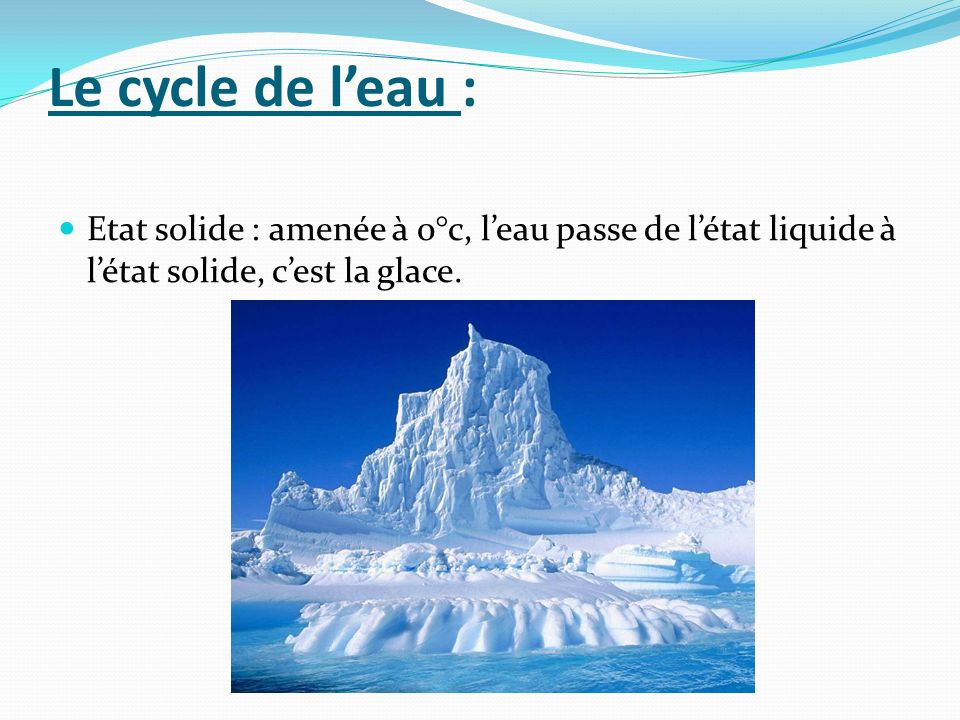Le cycle de l'eau :Etat solide : amenée à 0°c, l'eau passe de l'état liquide à l'état solide, c'est la glace.