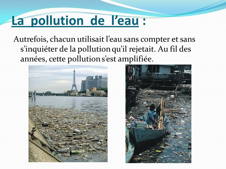 La pollution de l'eau :