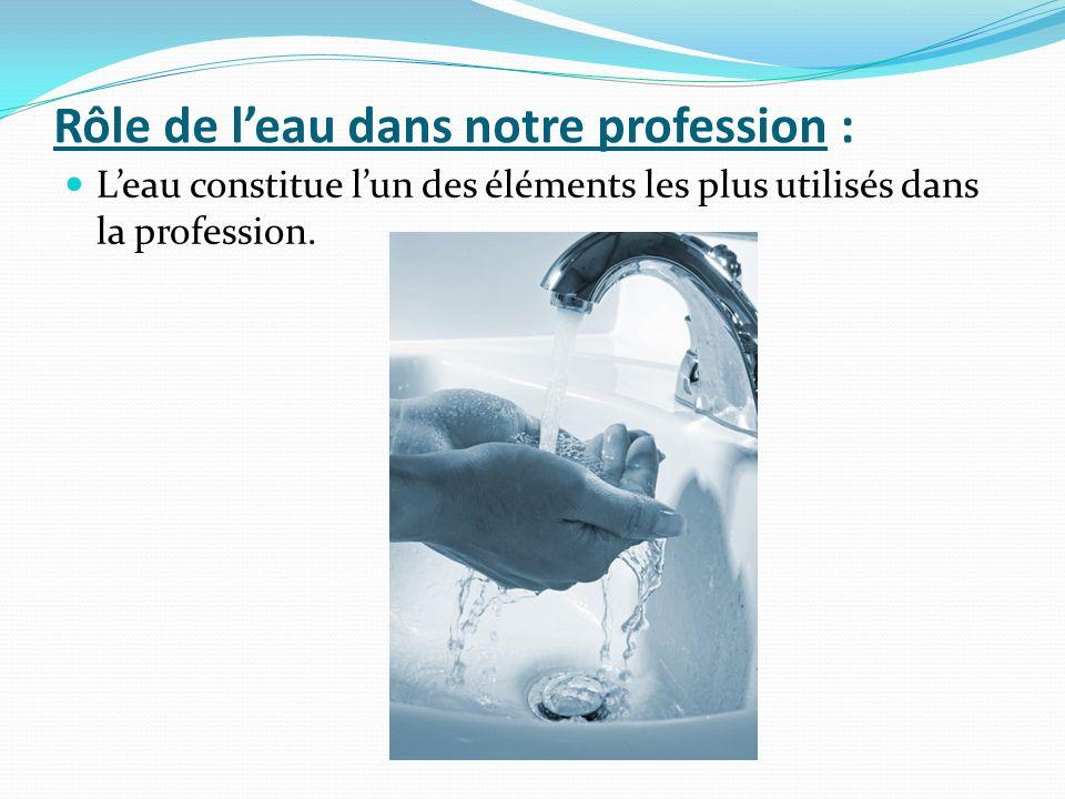 Rôle de l'eau dans notre profession :