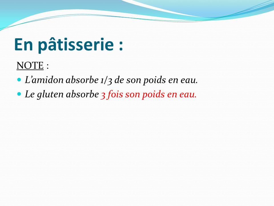 En pâtisserie : NOTE : L'amidon absorbe 1/3 de son poids en eau.
