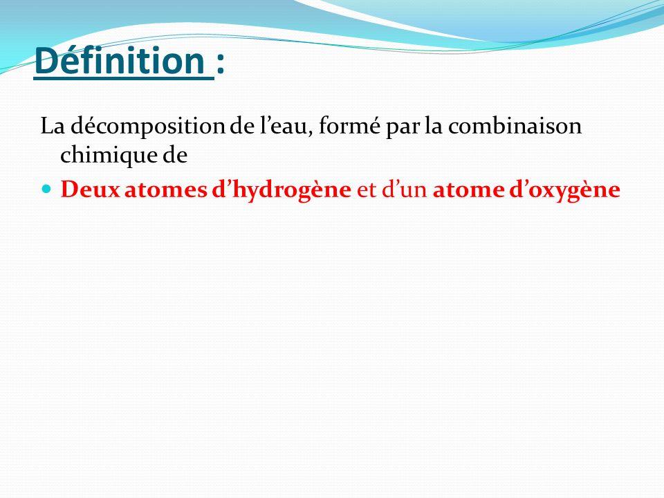 Définition :La décomposition de l'eau, formé par la combinaison chimique de.