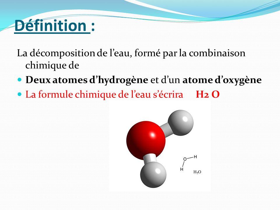 Définition :La décomposition de l'eau, formé par la combinaison chimique de. Deux atomes d'hydrogène et d'un atome d'oxygène.