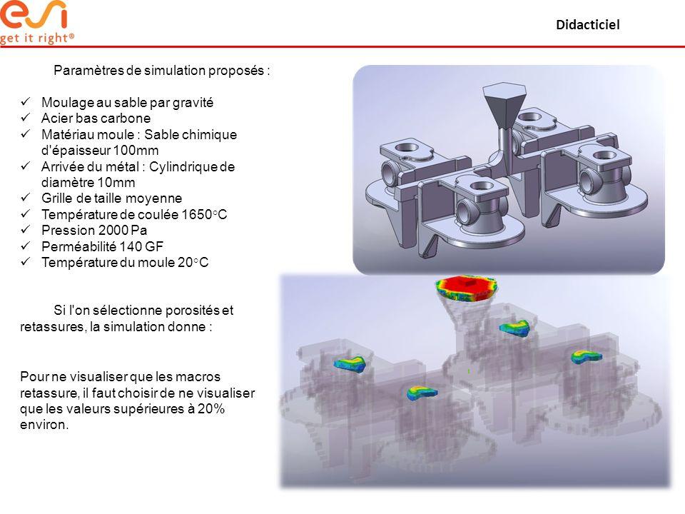 Didacticiel Paramètres de simulation proposés :